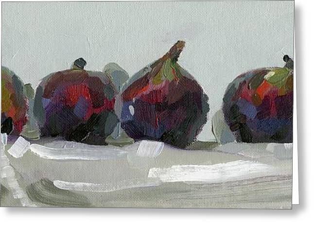 Cloth Greeting Cards - Figs In A Row Greeting Card by Catherine Considine