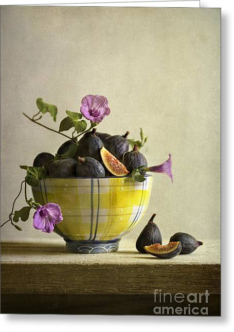 Tabletop Greeting Cards - Figs In Yellow Bowl Greeting Card by Elena Nosyreva
