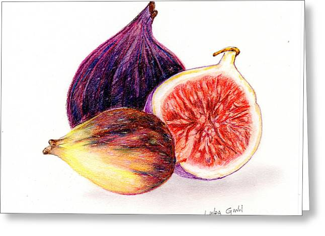 Figs Drawings Greeting Cards - Figs Greeting Card by Linda Ginn