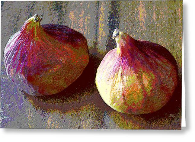 Grey And Pink Greeting Cards - Figs Still Life Pop Art Greeting Card by Ben and Raisa Gertsberg