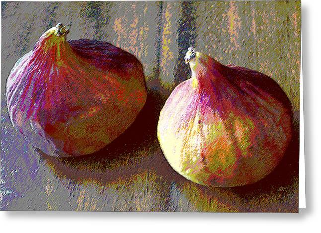 Green And Yellow Greeting Cards - Figs Still Life Pop Art Greeting Card by Ben and Raisa Gertsberg