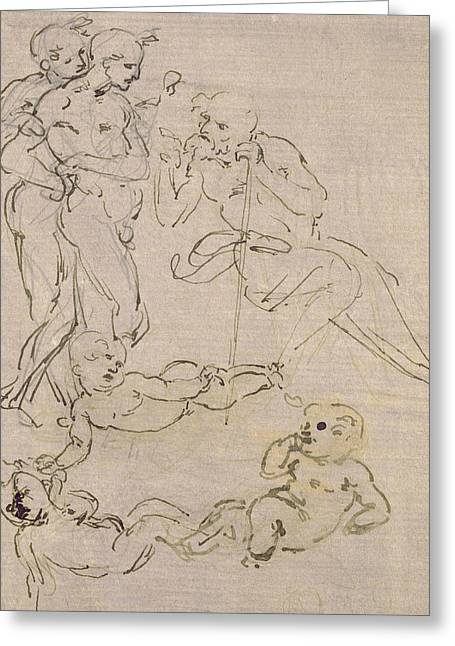 Figural Study For The Adoration Of The Magi Greeting Card by Leonardo Da Vinci