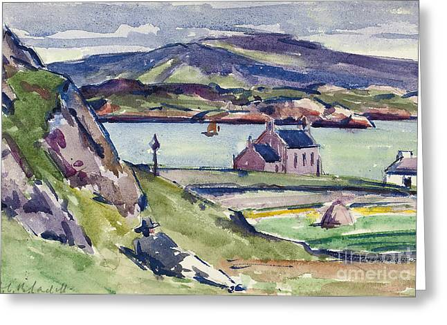 Village By The Sea Greeting Cards - Figure and Kirk   Iona Greeting Card by Francis Campbell Boileau Cadell