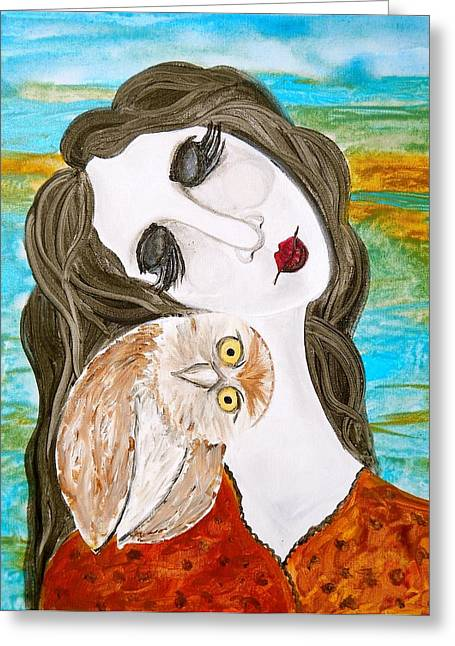 Turquoise And Rust Greeting Cards - Figure and Owl Painting - Wise Beyond My Years Greeting Card by Laura  Carter