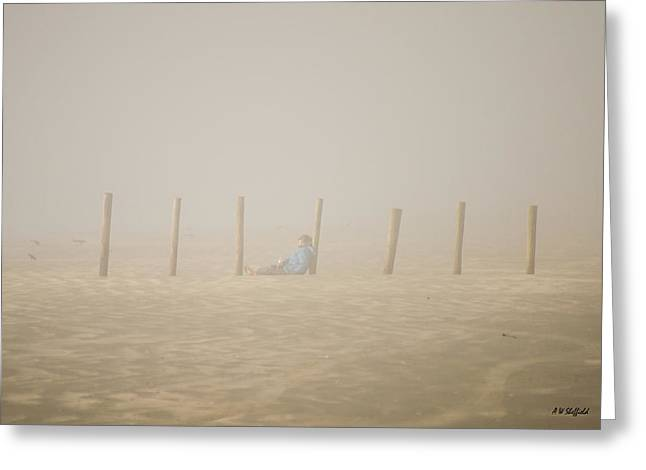 Galveston Greeting Cards - Figure in the Fog Greeting Card by Allen Sheffield