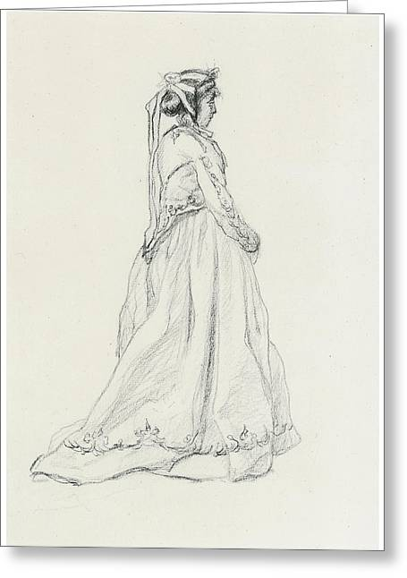 Victorian Era Woman Greeting Cards - Figure of a Woman Greeting Card by Claude Monet