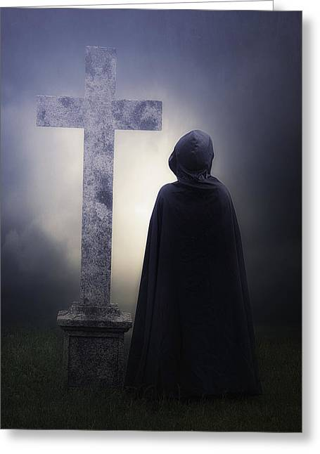 Eerie Greeting Cards - Figure On Graveyard Greeting Card by Joana Kruse