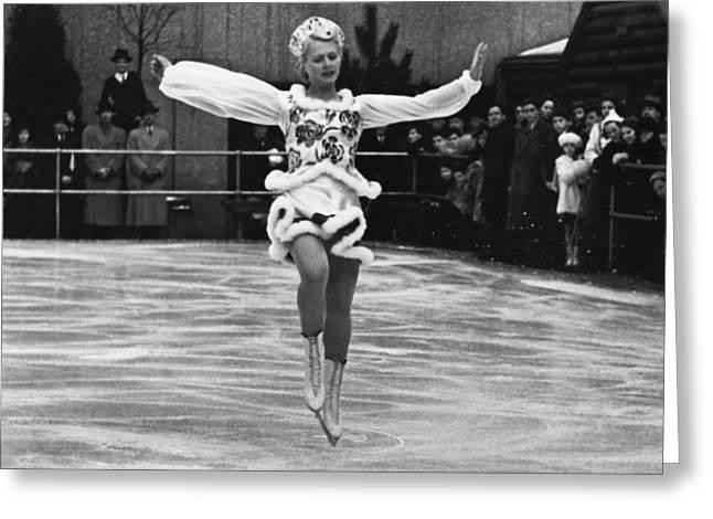 Figure Skater Greeting Cards - Figure Skater Melitta Brunner Greeting Card by Underwood Archives