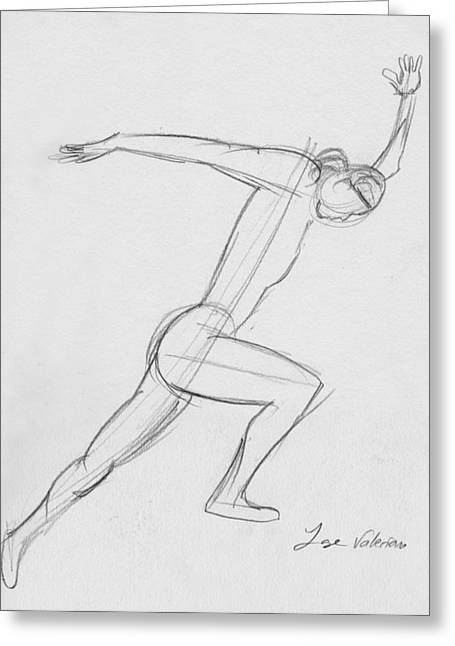 Graphite Greeting Cards - Figure sketch Greeting Card by Jose Valeriano