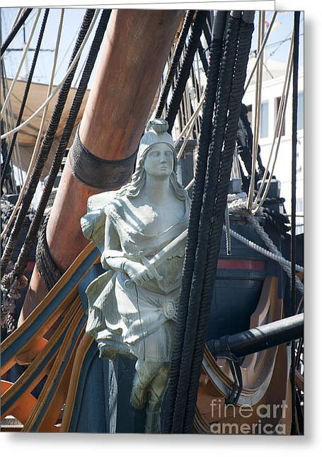 Pirate Ships Greeting Cards - Figurehead on Galleon Greeting Card by Brenda Kean