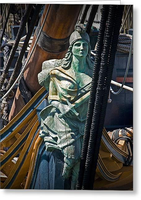 Old Ship Art Greeting Cards - Figurehead on the bow of the Sailing Ship The Star of India Greeting Card by Randall Nyhof
