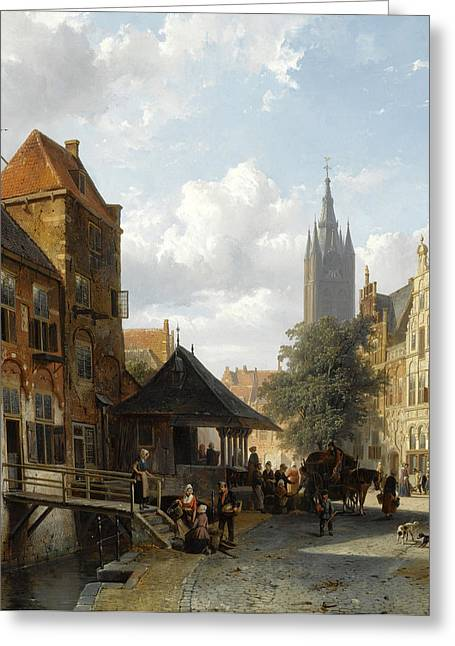Delft Greeting Cards - Figures at the Fish Market in Delft Greeting Card by Cornelis Springer