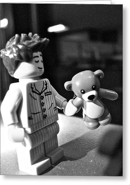 Lego Greeting Cards - FIgures at Work - Boy and Bear - 3235 - BW Greeting Card by Sandy Tolman