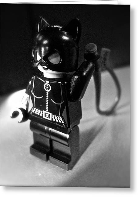 Figures At Work - Catwoman 3344 - Bw Greeting Card by Sandy Tolman