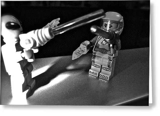 Lego Greeting Cards - Figures at Work - Space Girl 3258 - BW Greeting Card by Sandy Tolman