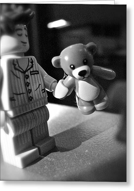 Pajamas Greeting Cards - Figures at Work - Boy and Bear 3237 - BW Greeting Card by Sandy Tolman