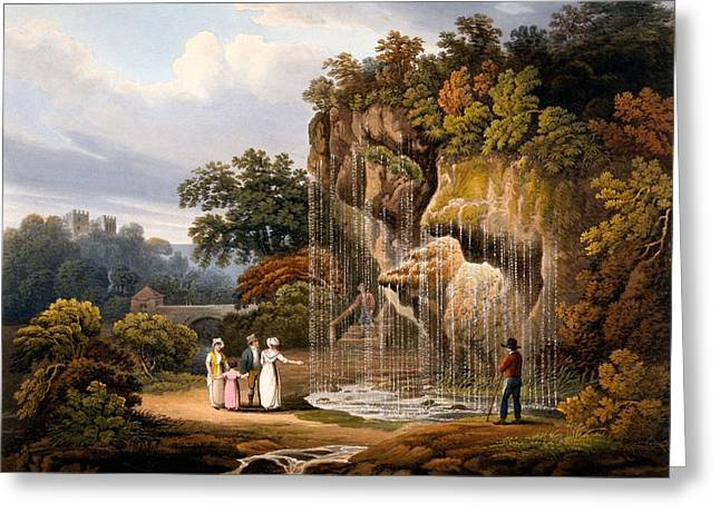 Figure Drawings Greeting Cards - Figures By A Waterfall, 1825 Greeting Card by Francis Nicholson