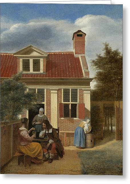 Hooch Greeting Cards - Figures in a Courtyard behind a House Greeting Card by Pieter de Hooch