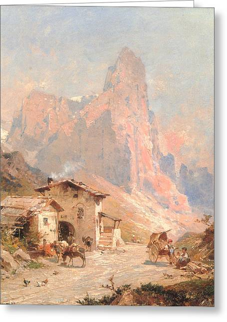 Country Dirt Roads Digital Greeting Cards - Figures in a Village in the Dolomites Greeting Card by Franz Richard Unterberger