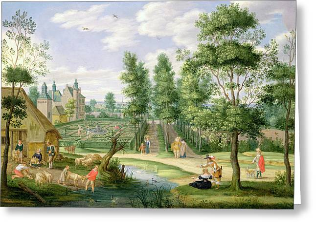Duck Pond Greeting Cards - Figures In The Grounds Of A Country House Oil On Copper Greeting Card by Isaak van Oosten