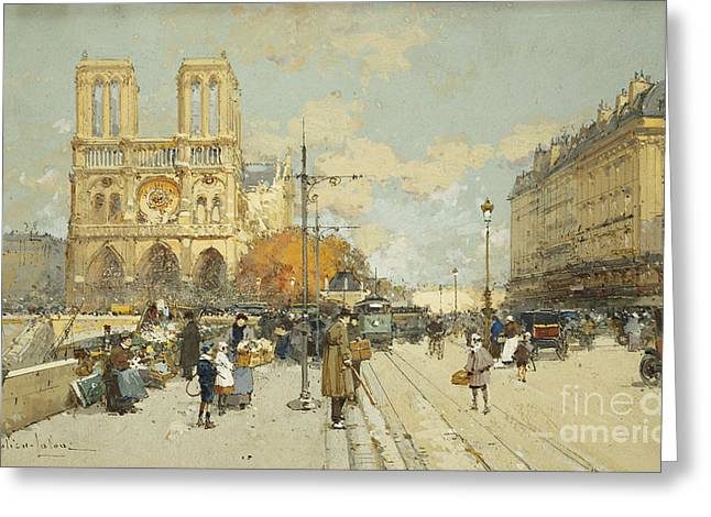 Figures On A Sunny Parisian Street Notre Dame At Left Greeting Card by Eugene Galien-Laloue