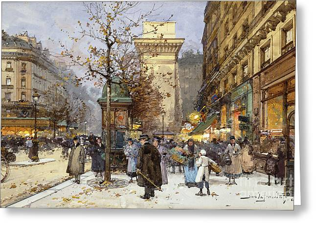 Bare Trees Greeting Cards - Figures on Le Boulevard St. Denis at Twilight Greeting Card by Eugene Galien-Laloue