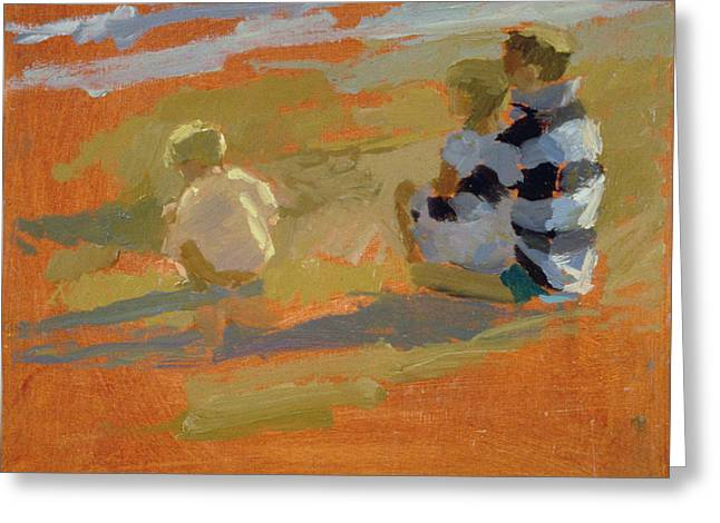 Figures On The Beach  Greeting Card by Sarah Butterfield