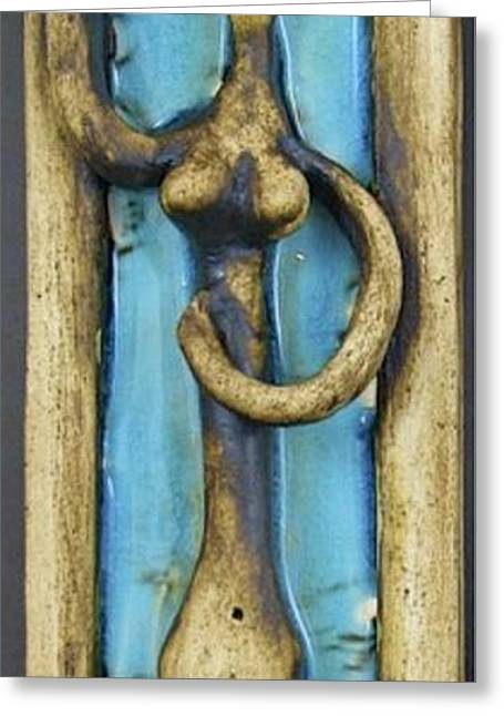 Tile Ceramics Greeting Cards - Figurine #2 Greeting Card by Mario Perron