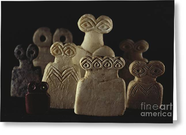 Told Greeting Cards - Figurines From Tell Brak Excavation Greeting Card by Gianni Tortoli
