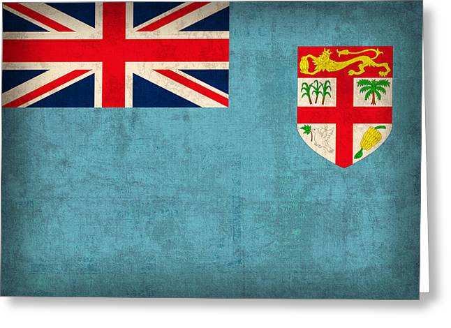 National Mixed Media Greeting Cards - Fiji Flag Vintage Distressed Finish Greeting Card by Design Turnpike