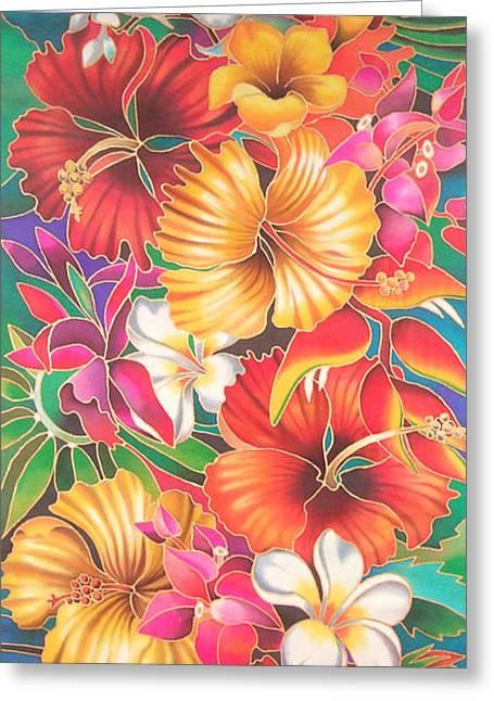 Tiara Paintings Greeting Cards - Fiji Flowers III Greeting Card by Maria Rova