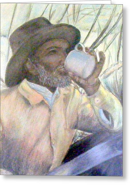 Cup Pastels Greeting Cards - Fijian Cane Cutter Greeting Card by Barbara Jacquin