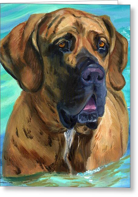 Brindle Greeting Cards - Fila Brasileiro...Swim Greeting Card by Lyn Cook