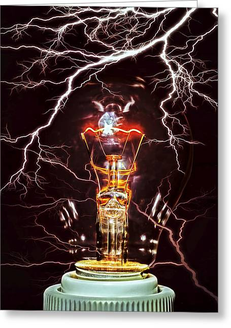 Old Light Bulb Greeting Cards - Filament Greeting Card by Daniel Hagerman