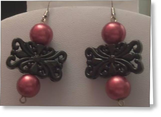 Rectangles Jewelry Greeting Cards - Filigree Rectangle and Red Pearl Earrings Greeting Card by Kimberly Johnson