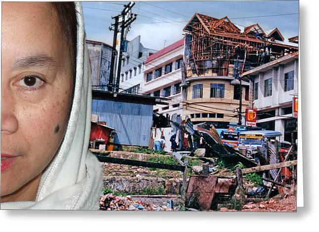 Filipina Greeting Cards - Filipina Woman and her Earthquake Damage City Greeting Card by Jim Fitzpatrick