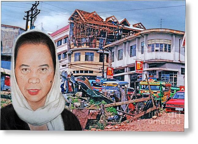 Beauty Mark Greeting Cards - Filipina Woman and her Earthquake Damage City Version II Greeting Card by Jim Fitzpatrick