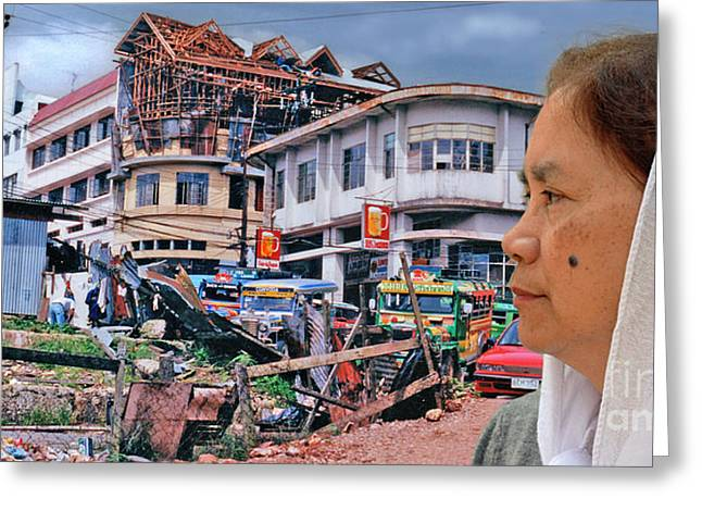 Beauty Mark Greeting Cards - Filipina Woman and her Earthquake Damage City Version III Greeting Card by Jim Fitzpatrick