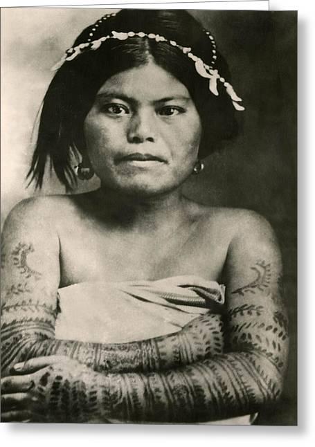 Best Sellers -  - Tattoo Flash Greeting Cards - Tattoo filipino lady 1800s Flash Art Greeting Card by Larry Mora