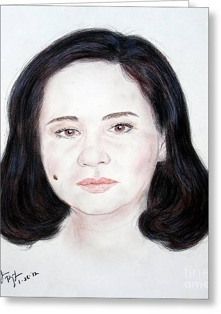 Recently Sold -  - Beauty Mark Mixed Media Greeting Cards - Filipino TV executive host actress and producer Charo Santos Greeting Card by Jim Fitzpatrick