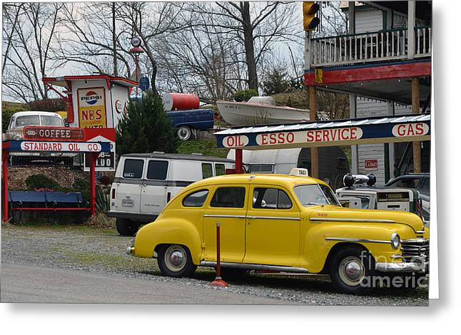 1949 Plymouth Greeting Cards - Fill er Up Greeting Card by Brenda Dorman