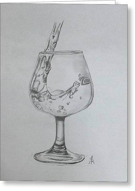 Pouring Wine Greeting Cards - Fill My Glass Greeting Card by Shelby Rawlusyk