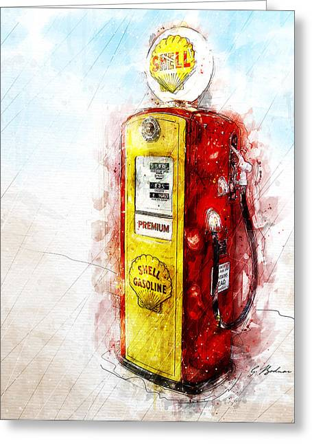 Auto Greeting Cards - Filler Up Greeting Card by Gary Bodnar