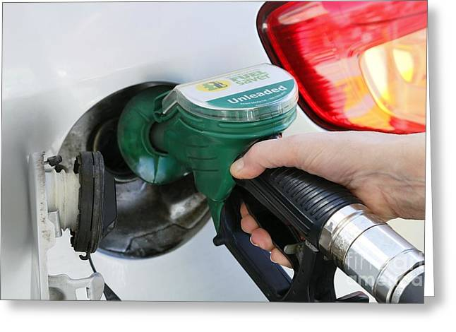 Petrol Station Greeting Cards - Filling Car Petrol Tank Greeting Card by Victor De Schwanberg