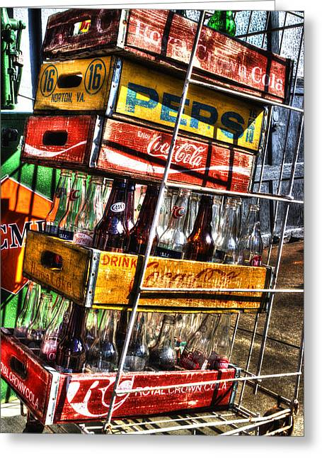 Soda Bottles Greeting Cards - Filling Station Sodas Greeting Card by Michael Eingle