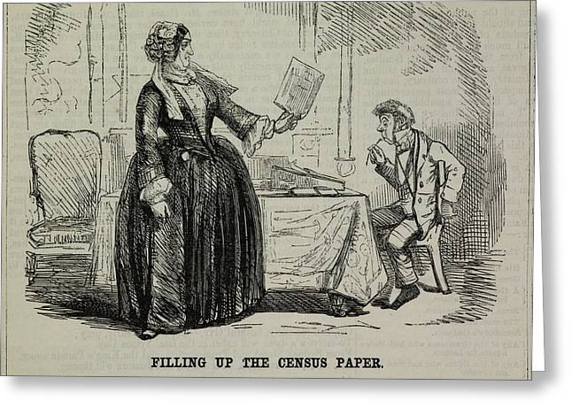 Filling Up The Census Paper Greeting Card by British Library