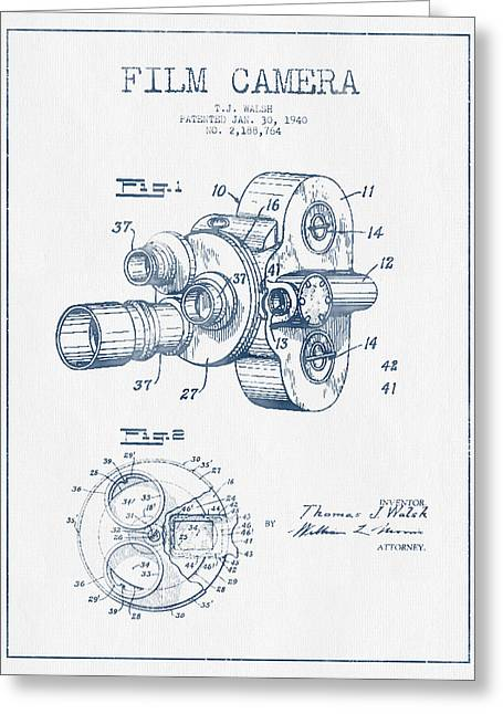 Camera Greeting Cards - Film Camera Patent Drawing from 1938 - Blue Ink Greeting Card by Aged Pixel