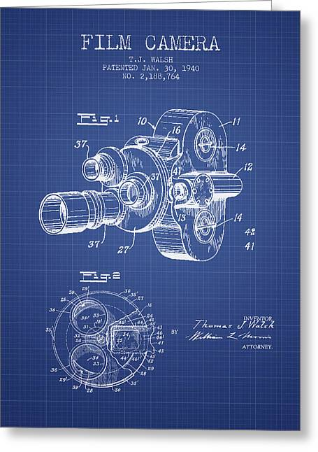 Vintage Camera Greeting Cards - Film Camera Patent From 1940 - Blueprint Greeting Card by Aged Pixel