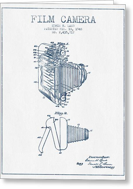 Famous Photographers Greeting Cards - Film camera patent from 1948- Blue Ink Greeting Card by Aged Pixel