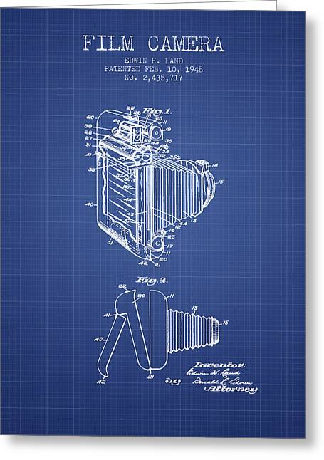 Famous Photographers Digital Art Greeting Cards - Film Camera Patent From 1948 - Blueprint Greeting Card by Aged Pixel